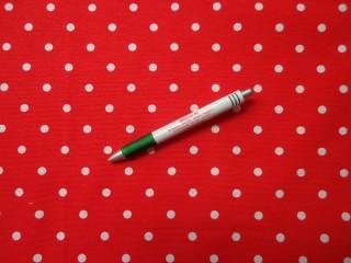 Loneta, piros alapon fehér pöttyös kerti bútor vászon (7811)
