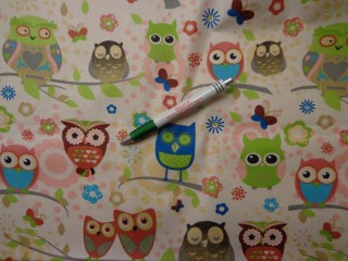 Gyerekmintás vászon, zöld-szürke baglyos (7863)