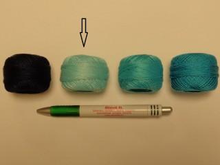 Gyöngy hímzőfonal (perlé), halvány türkiz (7932-5902)