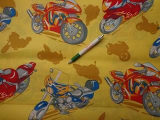 Gyerekmintás vászon, sárga motoros (7990)