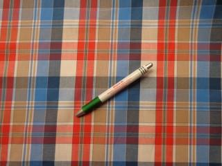 Inganyag, kék-piros-drapp kockás (8071)