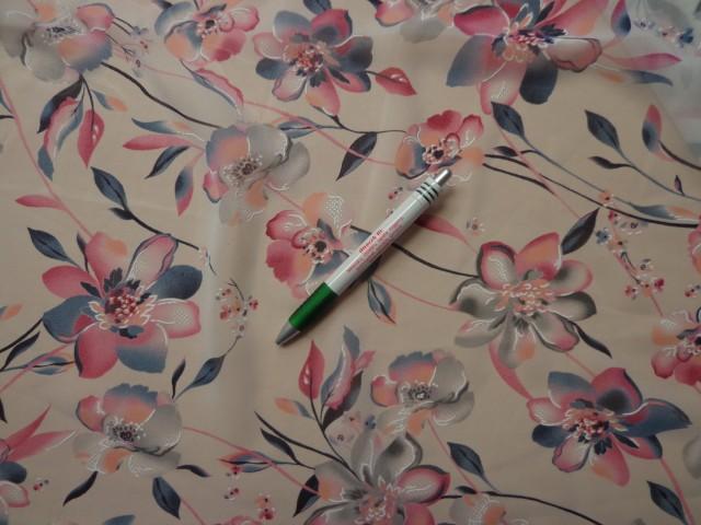 Mintás muszlin, rózsaszín-farmerkék virágos (8079)
