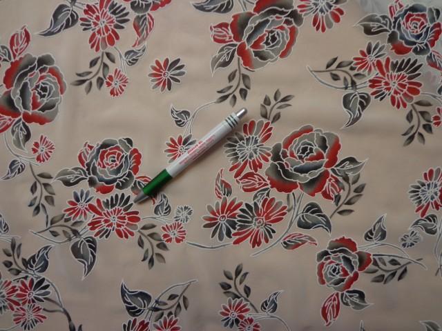 Mintás muszlin, bordó-szürke rózsás (8081)
