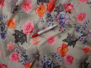 Sztreccs muszlin, szürke alapon rózsás (8085)