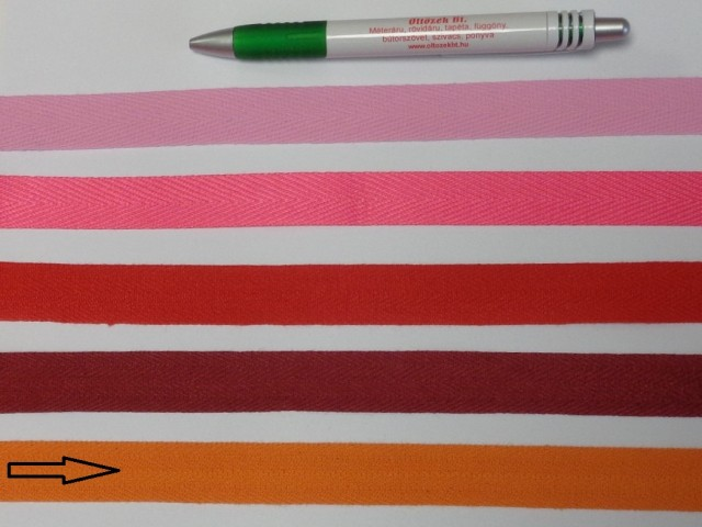 2 cm széles, köpper szalag, narancs (8144)