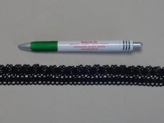 Pamut csipke, fekete, 2,5 cm széles (8257)