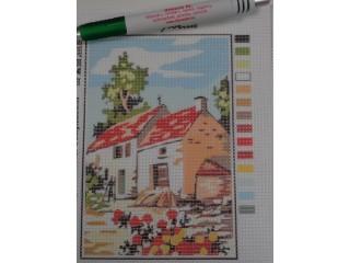 Gobelin, házak piros tetővel (8453)