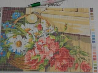 Gobelin, virágok kosárban (8457)