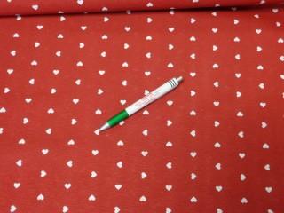 Loneta, piros alapon fehér szíves kerti bútor vászon (8464)
