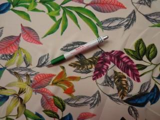 Sztreccs muszlin, színes-leveles (8470)