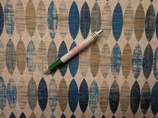 Loneta, kék-drapp ovál mintás, kerti bútor vászon (8547)