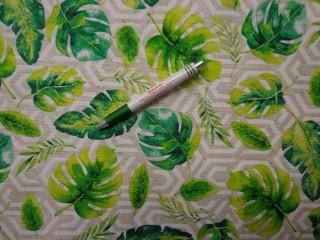 Loneta, drapp-fehér alapon, zöld leveles, kerti bútor vászon (8548)