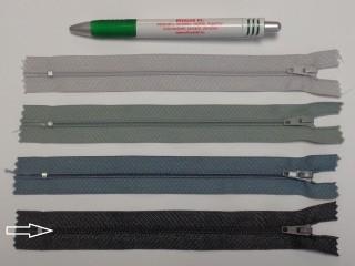 RT0-s, 18 cm hosszú, műanyag, spirál fogú cipzár, grafit szürke (8611)
