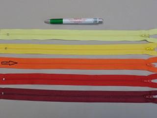 RT-0, 35 cm hosszú, műanyag, spirál fogú cipzár, narancssárga (8621)
