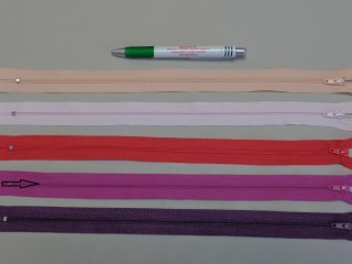 RT-0, 35 cm hosszú, műanyag, spirál fogú cipzár, mályva (8627)