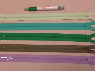 RT-0, 35 cm hosszú, műanyag, spirál fogú cipzár, lila (8637)