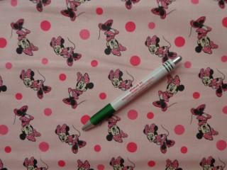 Disney mintás pamutvászon, Minnie egeres, rózsaszín  (8659)