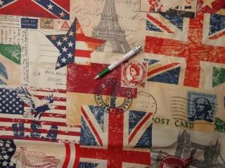 Mintás karton, zászlós, város képes (8685)