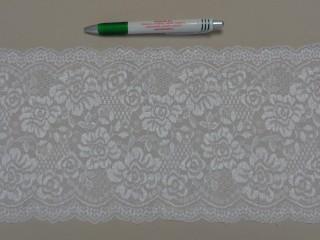 Rugalmas csipke, rózsás, fehér, 18 cm széles (8710)