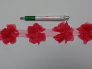 Tüll virág szalagon, pink (8784)