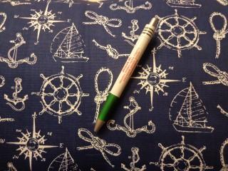 Loneta, sötétkék alapon vitorlás, tengerészkellékes kerti bútor vászon (8797)