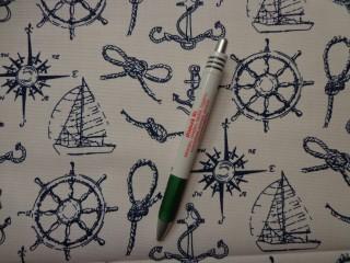 Loneta, fehér alapon vitorlás, tengerész kellékes kerti bútor vászon (8798)