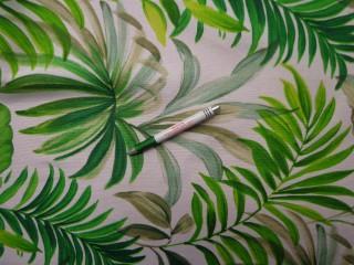 Loneta, törtfehér alapon zöld leveles, kerti bútor vászon (8825)