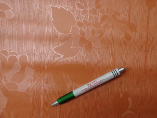 Viaszos vászon, damaszt hatású, virágos-leveles, terrakotta (8847)