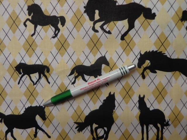 Gyerekmintás pamutvászon, sárga kárómintás, fekete lovas (8854)