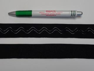 Vállpánt gumi szilikonnal, fekete, 28 mm széles (8882)