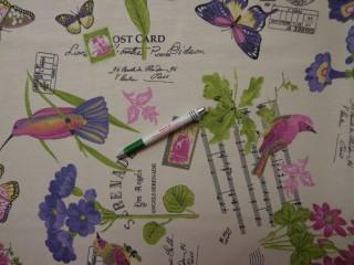 Loneta, lepkés, madaras, lila virágos kerti bútor vászon (8906)