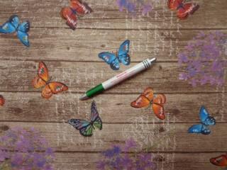 Loneta, barnás alapon, színes pillangós kerti bútor vászon (8908)