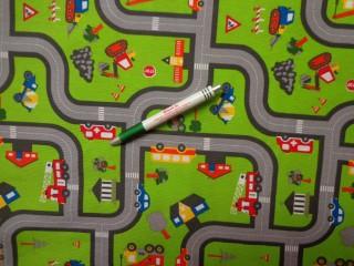 Loneta, autópályás, zöld, kerti bútor vászon (8909)
