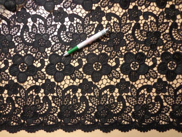 Pamut csipke, cakkos szélű, fekete (8926)