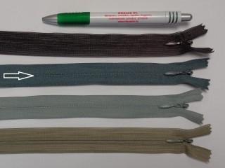 Rejtett cipzár, 20 cm-es, szürke (9023)