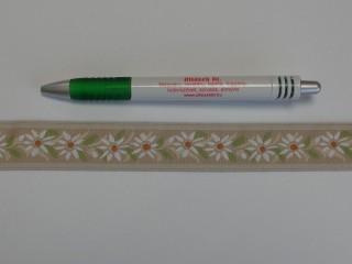 2,5 cm széles hímzett szalag, drapp (9095)