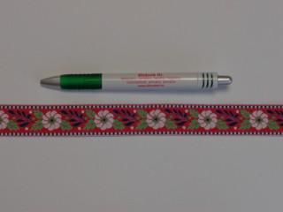 2,5 cm széles hímzett szalag, piros (9097)