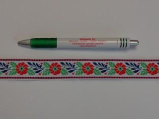 2,5 cm széles hímzett szalag, fehér (9098)