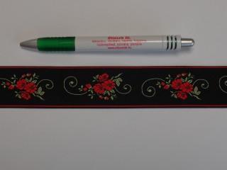 3,5 cm széles hímzett szalag, fekete, pipacsos (9094)