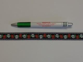 1,8 cm széles hímzett szalag, fekete (9099)