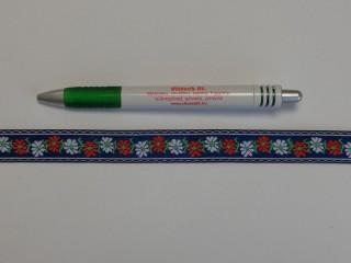 1,8 cm széles hímzett szalag, kék (9100)