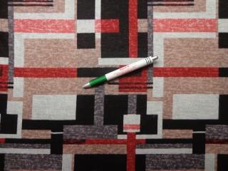 Őszi jersey, fekete-drapp-terrakotta mintás (9116)
