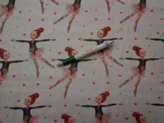 Gyerekmintás pamutvászon, balerinás (9132)