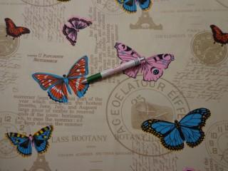 Loneta, feliratos, pillangós kerti bútor vászon (9135)