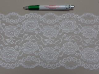 Rugalmas csipke, fehér, 15 cm széles (9143)