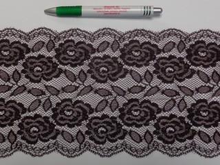 Rugalmas csipke, sötét barna, 16 cm széles (9144)