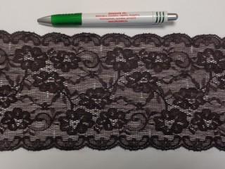 Rugalmas csipke, szürkés barna, 12 cm széles (9145)