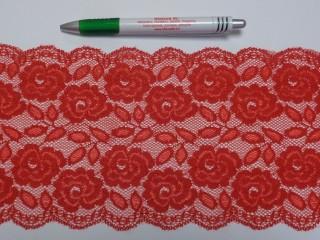 Rugalmas csipke, piros, 14 cm széles (9151)