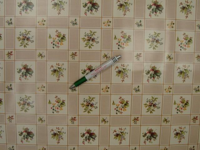 Viaszos vászon, drapp, kockába mintás - leveles, virágos  (9171)