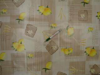 Viaszos vászon, drapp alapon citromos (9179)